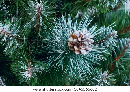 Snow covered decorative green spruce branch with pine cone, winter seasonal background close-up, frosty decorated evergreen Christmas tree with natural pine cone, traditional new year pattern Royalty-Free Stock Photo #1846566682
