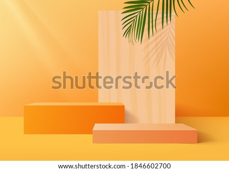 3d studio cylinder abstract minimal scene platform. podium background vector 3d rendering with podium studio. podium show cosmetic product. Stage showcase on pedestal 3d studio orange pastel #1846602700