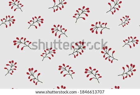 Seamless pattern with red barberry berries on branches on a blue background. Design for interior, background, fabric, textile, paper, decoration, design, packaging, wallpaper. Royalty-Free Stock Photo #1846613707