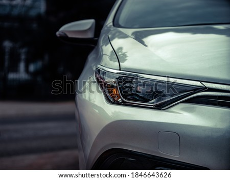 Car headlights. Exterior closeup detail Royalty-Free Stock Photo #1846643626