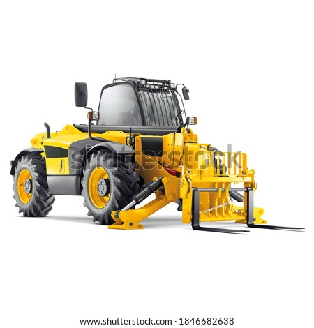 Forklift Truck Isolated on White Background. Internal Combustion Pneumatic Industrial & Agriculture Vehicle. Warehouse Equipment. Side Front View Yellow Fork Hoist. Diesel Counterbalance Carriage Royalty-Free Stock Photo #1846682638