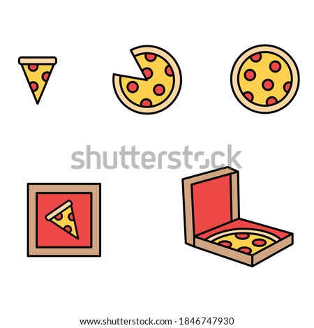 Pizza icon illustration clip art cartoon variety set