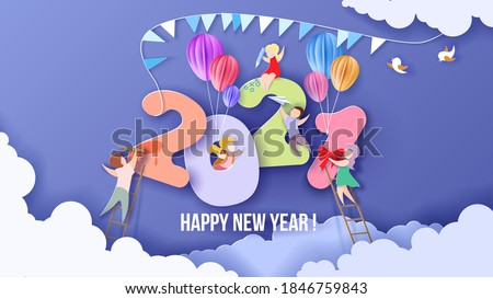 2020 New Year design card with kids on sky background with clouds. Vector illustration. Paper cut and craft style. #1846759843