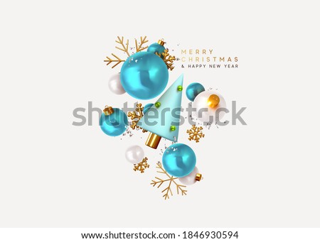 Merry Christmas and Happy New Year. Xmas Festive background with realistic 3d objects, blue and white bauble balls, conical metal christmas tree. Gold snowflake. Levitation falling design composition. #1846930594