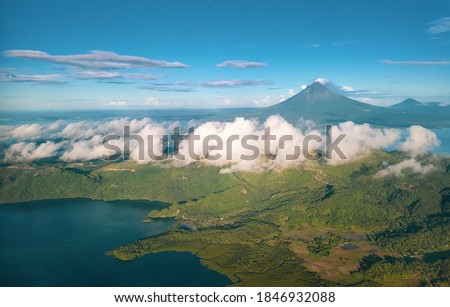 Aerial shot of the majestic volcano of  Mount Mayon, Albay Region, Philippines.