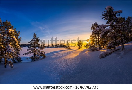 Winter snow sunrise nature landscape. Snowy winter sunrise outdoors. Winter sunrise in nature snow. Winter snow sunrise landscape #1846942933
