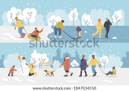Active people in the winter park. Happy family walking and ride child on the sled. People in the park, children playing in the park, making snowman, skating, playing hockey, walking dog cartoon vector Royalty-Free Stock Photo #1847034550