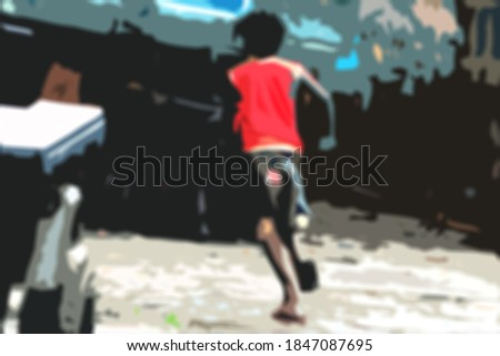Kid running on the road on a dark evening. Drawn image.Digital 3d rendered realistic professional creative painting artwork illustration.