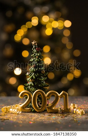 2021 New Year greeting card, Christmas tree, 2021 golden digits and golden sparkle dust #1847138350