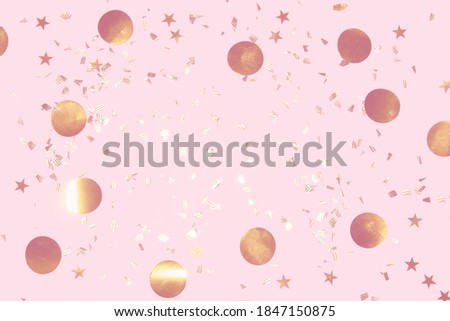 gold shiny flying confetti frame on a pink background festive backdrop for any christmas project