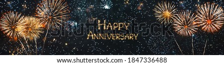 Happy anniversary. Panoramic holiday header for website or Web banner with Sparkling burning text Happy anniversary on festive background with fireworks Royalty-Free Stock Photo #1847336488