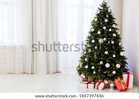 Window decor new year presents Christmas tree interior holiday