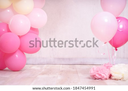 Digital backdrop pink yellow ballons for birthday and cake smash  Royalty-Free Stock Photo #1847454991