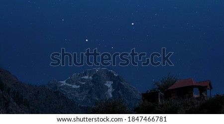 mountain view with night sky with full of stars. Tosh himachal village #1847466781