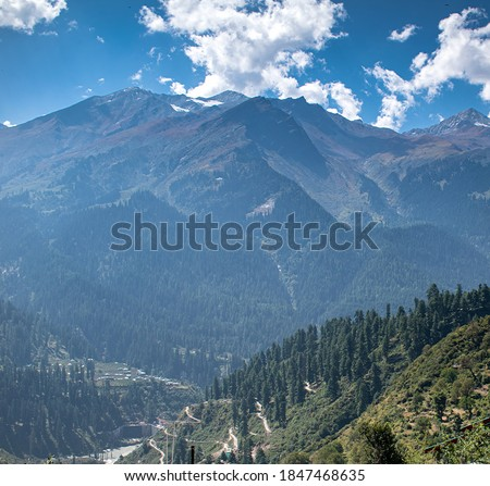 Tosh village top mountain view with road and river. #1847468635