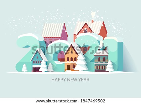 New year 2021. Cityscape with big numbers. Greeting card design #1847469502