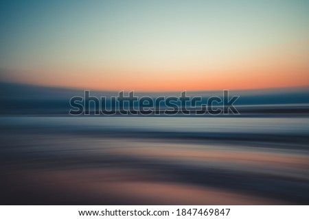 Sunset over the sea, abstract seascape background, line art, soft blur, water surface Royalty-Free Stock Photo #1847469847