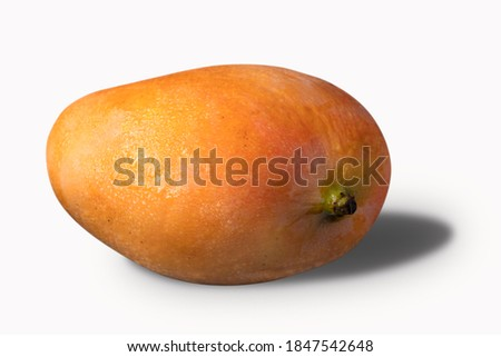A pink mango fruit (manga rosa) isolated in a white background