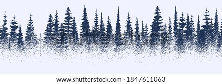 Vector sketch, banner. Forest, imitation of a pencil drawing. Royalty-Free Stock Photo #1847611063