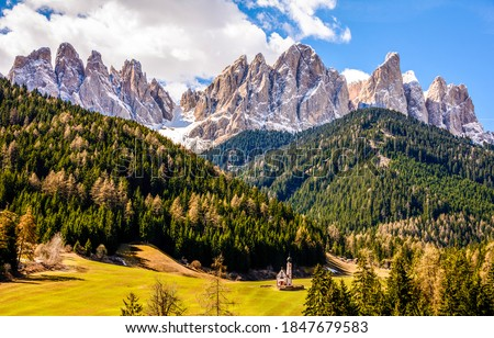 Mountain forest range landscape view. Mountain peak rocks landscape. Mountain landscape. Forest church in mountains #1847679583
