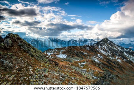 Moutnain peak sky clouds landscape. Mountain clouds. Mountain sky clouds. Mountain sky clouds landscape #1847679586