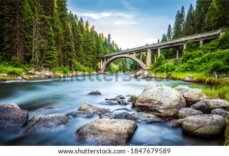 Forest river bridge landscape. Bridge over forest river. Forest river bridge view. Bridge in forest #1847679589
