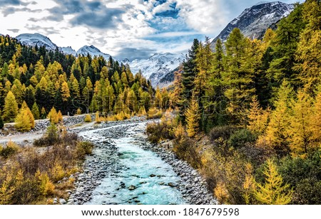 Autumn mountain forest river creek landscape. Cold creek in autumn mountain forest. Autumn forest creek in mountains. Autumn mountain landscape #1847679598