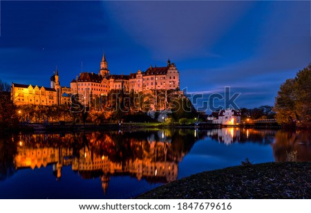 Castle lake water reflection in night. Night casle lake view. Castle lake in night. Night castle view #1847679616
