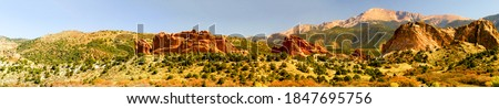 Red rock canyon desert panorama. Panoramic landscape canyon desert. Canyon desert panorama #1847695756