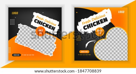 Fresh and spicy delicious chicken social media post design template, Fast food social media post, delicious chicken or poster, Fresh and spicy food flyer design, free Delivery #1847708839