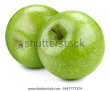 Two Green Apple. Fresh organic apple isolated on white background. Apple with clipping path. High End Retouching Royalty-Free Stock Photo #1847777374
