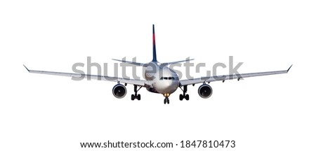 Large passenger airplane flying isolated on white. Civil aviation concept.. #1847810473