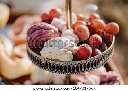 Grape Berries and Marshmallow on Tray Closeup Photography. Delicious Homemade Dessert and Bio Organic Natural Fruit. Seasonal Snack and Chewy Sweet Food Confection Blurred Background
