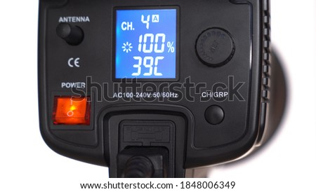 close up. the light LED source of permanent light for photo and video shooting. professional photo device.