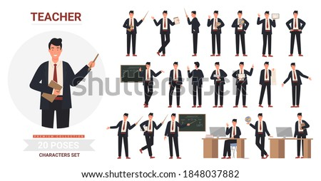 Teacher man poses vector illustration set. Cartoon professional male school teacher or professor character holding pointer or books, standing next to chalkboard in teaching postures isolated on white Royalty-Free Stock Photo #1848037882