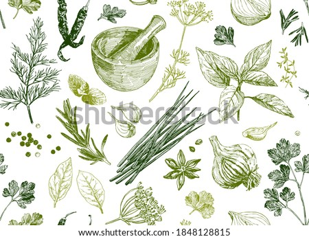 Seamless background with herbs and spices, fine texture for kitchen design Royalty-Free Stock Photo #1848128815