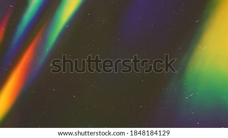 Dusted Holographic Abstract Multicolored Backgound Photo Overlay, Screen Mode for Vintage Retro Looking, Rainbow Light Leaks Prism Colors, Trend Design Creative Defocused Effect, Blurred Glow Vintage  Royalty-Free Stock Photo #1848184129