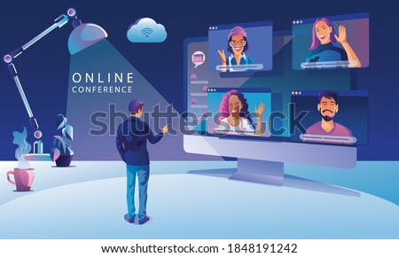 Businessmen use Video conference landing Working People on window screen taking with colleagues. Videoconferencing and online meeting workspace page, man and woman learning Vector illustration, Flat Royalty-Free Stock Photo #1848191242