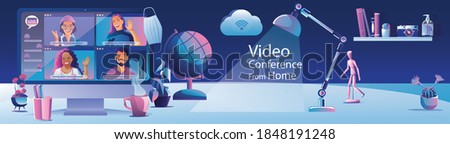 Businessmen use Video conference landing. Working People on window screen taking with colleagues. Videoconferencing and online meeting workspace page, man and woman learning. Vector illustration, Flat Royalty-Free Stock Photo #1848191248