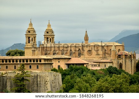 View from a distance. Pamplona Cathedral. 15th Century Gothic church. Royalty-Free Stock Photo #1848268195