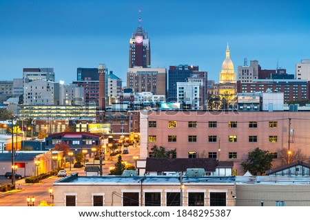 Lansing, Michigan, USA downtown city skyline at twilight. Royalty-Free Stock Photo #1848295387
