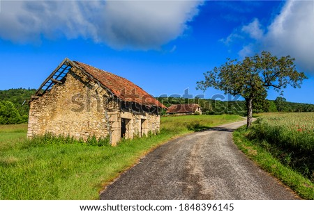 Rural abandoned road house view. Abandoned rural house. Abandoned house in rural scene. Abandoned rural house Royalty-Free Stock Photo #1848396145