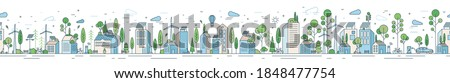 Vector horizontal line art illustration of eco cityscape with alternative energy. Seamless pattern with environmentally friendly city with roof greening, solar panels and windmills Royalty-Free Stock Photo #1848477754