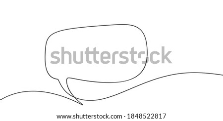 Continuous one line drawing of speech bubble, Black and white graphics vector minimalist linear illustration made of single line