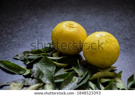 Picture of fresh ripe two yellow lemon with some curry leaves