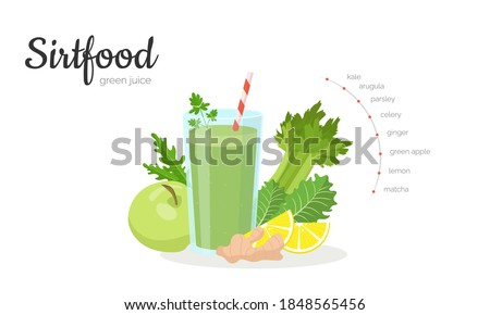 Sirtfood green juice horizontal banner template. Adele sirtfood weight loss diet smoothie and ingredients: kale, arugula, parsley, celery, green apple, ginger and lemon. Skinny gene theory. #1848565456