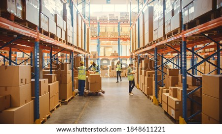 Retail Warehouse full of Shelves with Goods in Cardboard Boxes, Workers Scan and Sort Packages, Move Inventory with Pallet Trucks and Forklifts. Product Distribution Delivery Center. #1848611221
