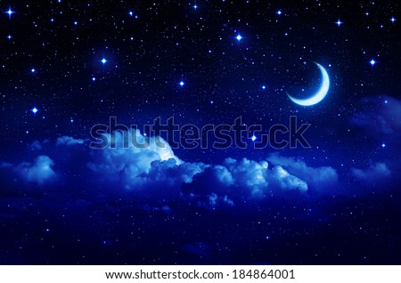 starry sky with half moon in scenic cloudscape  #184864001