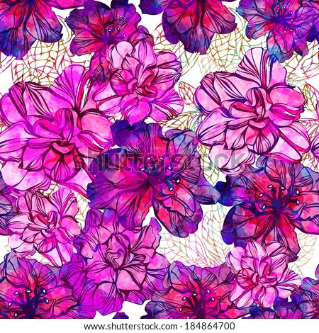 Seamless pattern with abstract bright flowers. Vector, EPS 10  #184864700