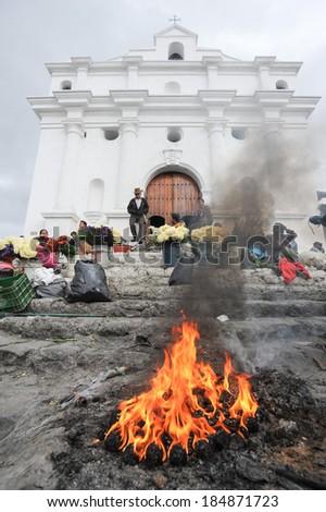 Indians in front of church of  El Calvario in Chichicastenango, Guatemala, 5 february 2014 #184871723